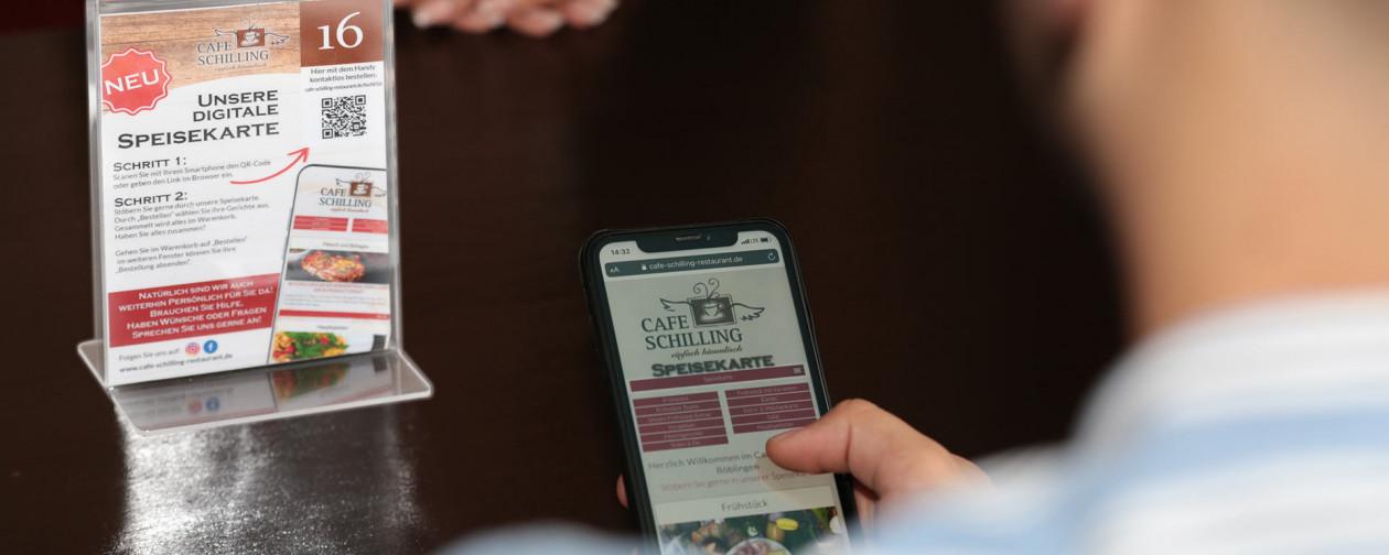 Essen bestellen im Restaurant, QR-Tischanmeldung, Speisekarte, Bestellblock, Besucherdaten-Erfassung,